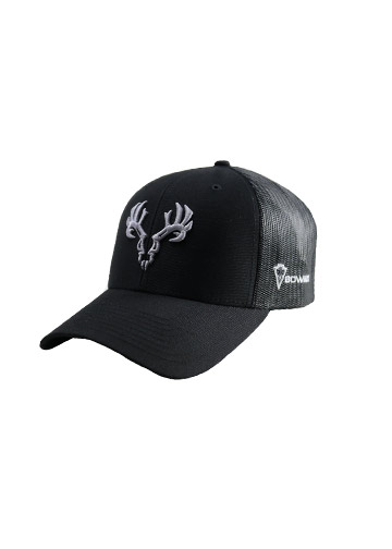 Black-BOWADX-Hat-with-Gray-Skull, Bow Hunting T Shirts, Archery Apparel, Hunting Apparel and Accessories, Ladies Archery Apparel
